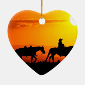 Western cowboy-Cowboy-texas-western-country Ceramic Heart Ornament