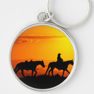 Western cowboy-Cowboy-texas-western-country Silver-Colored Round Keychain