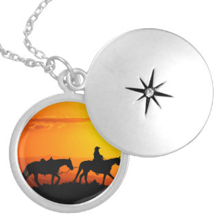 Western cowboy-Cowboy-texas-western-country Silver Plated Necklace