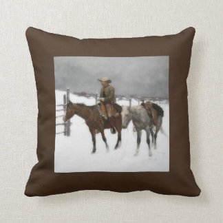 Western Cowboy on Horseback Vintage Throw Pillow