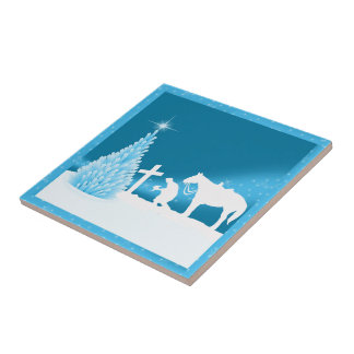 Western Cowboy Praying Holiday Scene Snow Tile