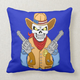 Western Cowboy Skull Throw Pillow
