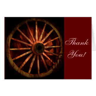 Western Cowboy Wagon Wheel Thank You Cards