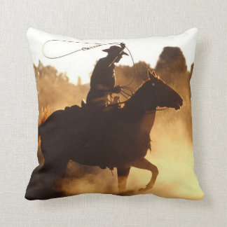 Western Cowboy with Lasso Throw Pillow