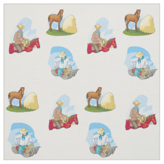Western Cowboys And Horses ANY COLOR Fabric