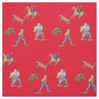 Western Cowboys Horse Roping Steer ANY COLOR Fabric
