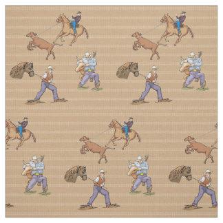 Western Cowboys Horse Roping Steer Fabric
