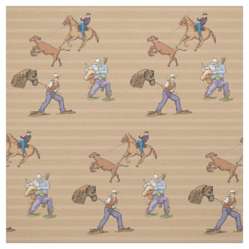 Western Cowboys Horse Roping Steer Fabric