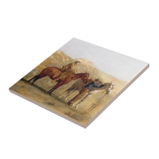 Western Cowboys With Horses Tile