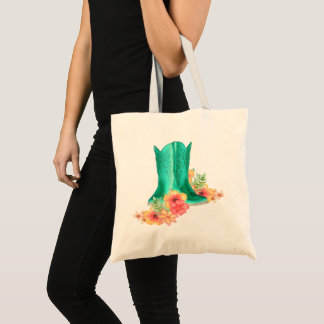 Western Cowgirl Boots And Flowers Tote Bag