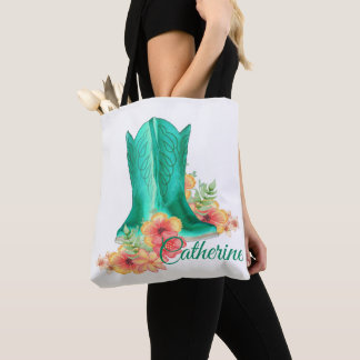 Western Cowgirl Boots / Flowers Tote Bag With NAME