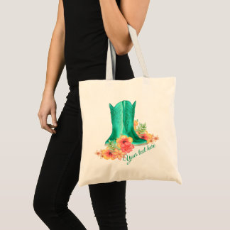 Western Cowgirl Boots Wedding Custom Text Tote Bag