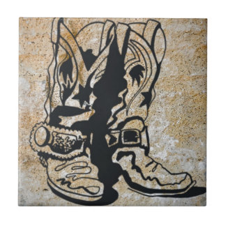 Western Cowgirl Cowboy Boots Tile