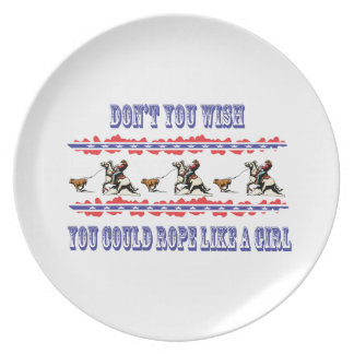 Western Cowgirl Dinner Plate Calf Roping