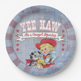 Western Cowgirl Paper Plate 9 Inch Paper Plate