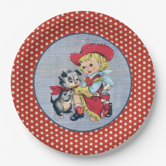 Western Cowgirl Polka Dot Paper Plate 9 Inch Paper Plate