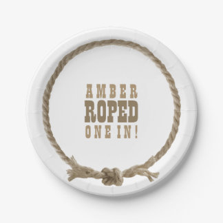 Western cowgirl rope bridal shower design 7 inch paper plate