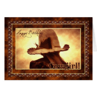 Western Cowgirl Themed Birthday Card