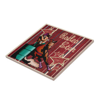 Western Cowgirls Barrel Racing Rodeo Star Tile