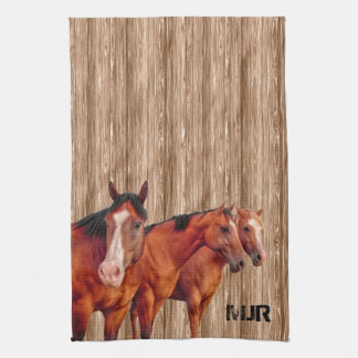 Western Cowgirl's Monogram with Horses Hand Towel
