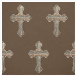 Western Cross Barnwood With Ropes and Conchos on Fabric
