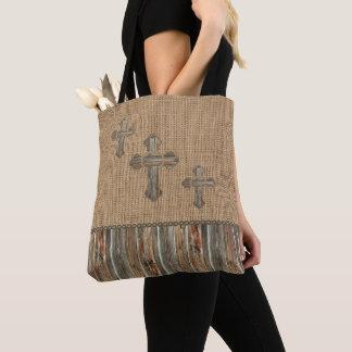 Western Crosses Faux Texture Barnwood Burlap Bag
