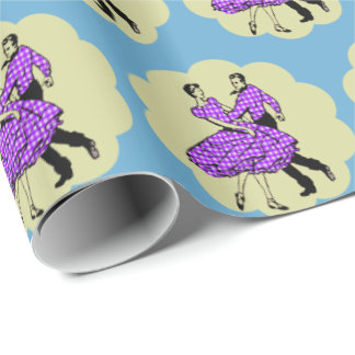 Western Dance Couple Square Dancing Purple  Outfit Wrapping Paper