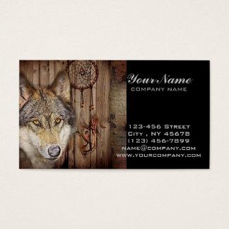 Western dream catcher  native american indian wolf business card