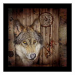 Western dream catcher  native american indian wolf poster