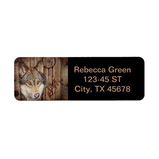 Western dream catcher  native american indian wolf return address label