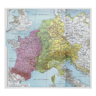 Western Europe at the Treaty of Verdun: 843 Poster