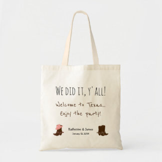 Western Flair Wedding Favor Bags, boots, customize Tote Bag