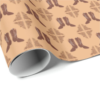 Western Gift Wrap Cowboy Boots and Leather Print