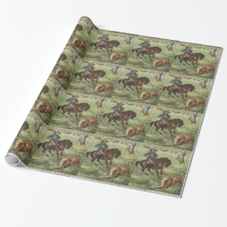 Western Gift Wrapping Paper Cowboy Roping A Steer