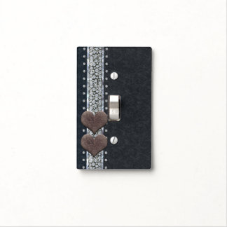 Western Glam Black Leather & Diamonds Bling Chic Light Switch Cover