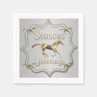 Western Gold Horse On Silver Holiday Disposable Napkin