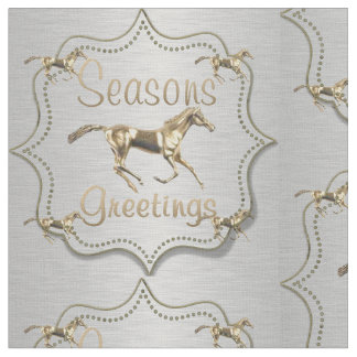 Western Gold Horse On Silver Holiday Fabric