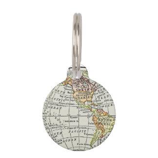 Western Hemisphere Map Globe Travel Art Pet Tag