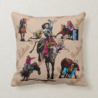 Western Home Decor Rodeo Events Throw Pillow