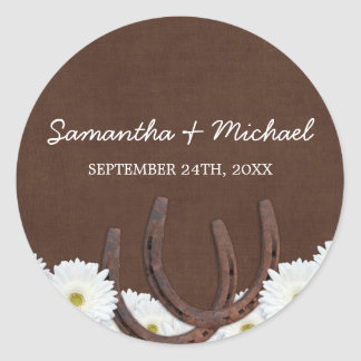 Western Horseshoes and Daisies Wedding Favor Label Round Sticker