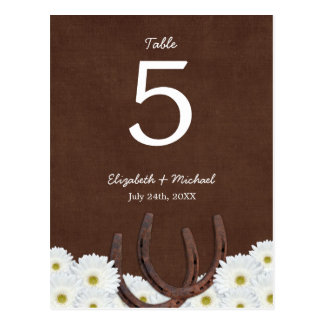 Western Horseshoes Wedding Table Number Post Cards