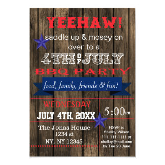 Western July 4th BBQ Holiday party Invitation