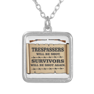 western laws of land silver plated necklace