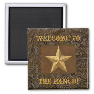 Western Leather Print Design W/Gold Star Magnet