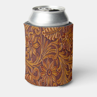 Western Leather Print Drink Holder Can Cooler
