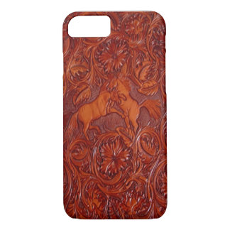 western leather style with mustangs iPhone 7 case