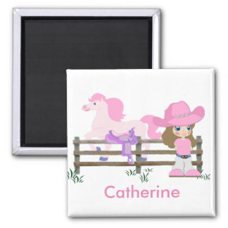 Western Little Cowgirl With Horse Square Magnet