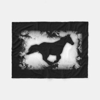 Western-look Galloping Horse Silhouette Fleece Blanket