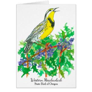Western Meadowlark Bird Oregon Grape Card