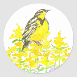 Western Meadowlark Goldenrod Watercolor Flowers Classic Round Sticker